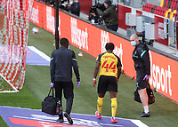 Joseph Hungbo of Watford walks towards the dressing room after suffering an injury during Brentford vs Watford, Sky Bet EFL Championship Football at the Brentford Community Stadium on 1st May 2021