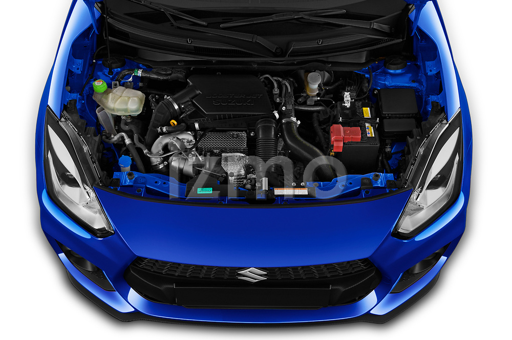 Car Stock 2020 Suzuki Swift-Sport Hybrid 5 Door Hatchback Engine  high angle detail view