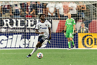 FOXBOROUGH, MA - AUGUST 18: Chris Odoi-Atsem #3 of D.C. United looks to pass during a game between D.C. United and New England Revolution at Gillette Stadium on August 18, 2021 in Foxborough, Massachusetts.