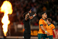 NZ's Sevu Reece celebrates his try try during the Bledisloe Cup rugby match between the New Zealand All Blacks and Australia Wallabies at Eden Park in Auckland, New Zealand on Saturday, 14 August 2021. Photo: Simon Watts / lintottphoto.co.nz / bwmedia.co.nz