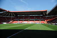 24th April 2021; The Valley, London, England; English Football League One Football, Charlton Athletic versus Peterborough United; The empty Valley stadium due to the pandemic restrictions, bathed in London sunshine pre-game