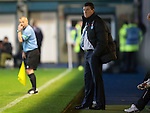 Morton v St Johnstone....30.10.13   Scottish League Cup Quarter Final<br /> Tommy Wright looks on as his side struggle to find some rythem<br /> Picture by Graeme Hart.<br /> Copyright Perthshire Picture Agency<br /> Tel: 01738 623350  Mobile: 07990 594431