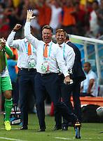 Netherlands manager Louis Van Gaal celebrates his sides equalising goal by Robin Van Persie