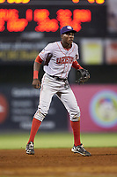 Hagerstown Suns third baseman Juan Pascal (7) on defense against the Kannapolis Intimidators at Kannapolis Intimidators Stadium on July 16, 2018 in Kannapolis, North Carolina. The Intimidators defeated the Suns 7-6. (Brian Westerholt/Four Seam Images)