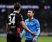 1st May 2021; Bankwest Stadium, Parramatta, New South Wales, Australia; A League Football, Western Sydney Wanderers versus Sydney FC; Kosta Barbarouses of Sydney has words with Patrick Ziegler of Western Sydney Wanderers after a challenge