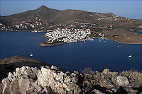 Pictured: The village of Perdika in Aegina as seen from the tiny island of Moni STOCK PICTURE<br /> Re: Four people, including a nine-year-old child, died and four were injured after a boat with about 20 people on board and a speedboat collided off the Greek holiday island of Aegina near Athens, Greece