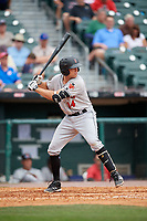 Indianapolis Indians third baseman Eric Wood (14) bats during a game against the Buffalo Bisons on August 17, 2017 at Coca-Cola Field in Buffalo, New York.  Buffalo defeated Indianapolis 4-1.  (Mike Janes/Four Seam Images)