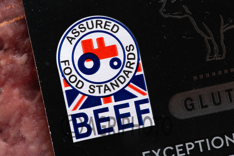 5-2-2021 Assured Food Standards label on a pack of Britsh Beef Burgers <br /> ©Tim Scrivener Photographer 07850 303986<br />      ....Covering Agriculture In The UK....