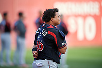 Rochester Red Wings Willians Astudillo (48) during an International League game against the Buffalo Bisons on August 26, 2019 at Sahlen Field in Buffalo, New York.  Buffalo defeated Rochester 5-4.  (Mike Janes/Four Seam Images)