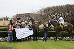January 23, 2021: Silver State (4) with jockey Ricardo Santana, Jr. aboard in the winners circle after winning the Fifth Season Stakes at Oaklawn Racing Casino Resort in Hot Springs, Arkansas on January 22, 2021. Justin Manning/Eclipse Sportswire/CSM