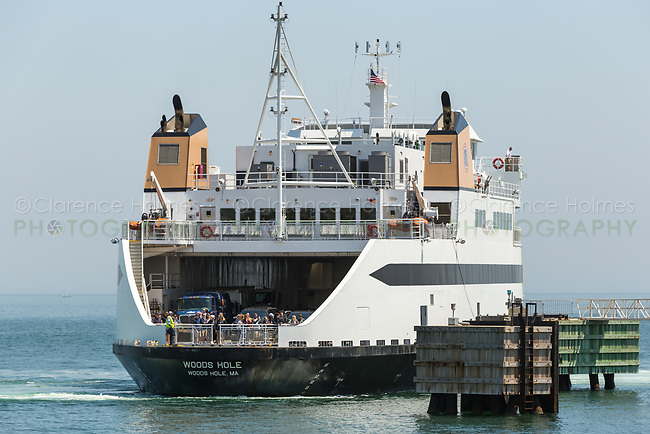 """Steamship Authority ferry """"MV Woods Hole"""" to Martha's Vineyard prepares to dock at the Oak Bluffs ferry terminal after arriving from the mainland"""