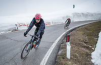 Julius van den Berg (NED/EF Education - Nippo) coming down the Passo Giau in a puffer jacket<br /> <br /> due to the bad weather conditions the stage was shortened (on the raceday) to 153km and the Passo Giau became this years Cima Coppi (highest point of the Giro).<br /> <br /> 104th Giro d'Italia 2021 (2.UWT)<br /> Stage 16 from Sacile to Cortina d'Ampezzo (shortened from 212km to 153km)<br /> <br /> ©kramon