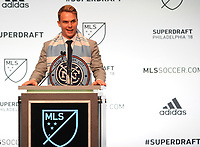 Philadelphia, PA - Thursday January 19, 2018: Jeff Caldwell during the 2018 MLS SuperDraft at the Pennsylvania Convention Center.