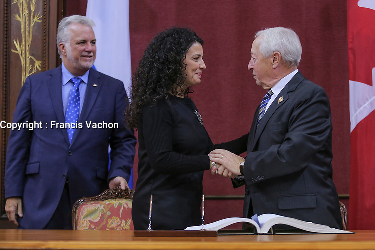 Filomena Rotiroti is sworn in as Presidente du caucus du parti du gouvernement (Caucus president) of the new Liberal cabinet at the National Assembly in Quebec city October 11, 2017.<br /> <br /> PHOTO :  Francis Vachon - Agence Quebec Presse