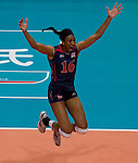 22 August 2010, Hong Kong, China ---  Akinradewo Foluke of USA celebrates after winning their volleyball game against China on the last day of the FIVB World Grand Prix Pool G at the Hong Kong Coliseum stadium. Photo by Victor Fraile --- Image by © Victor Fraile