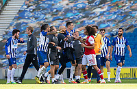 20th June 2020, American Express Stadium, Brighton, Sussex, England; Premier League football, Brighton versus Arsenal ;  Arsenals Matteo Guendouzi clashes with Brighton and Hove Albion players after the Premier League match after he grabbed Maupay around the neck at full time