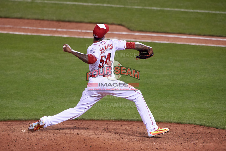 Cincinnati Reds pitcher Aroldis Chapman during the MLB All-Star Game on July 14, 2015 at Great American Ball Park in Cincinnati, Ohio.  (Mike Janes/Four Seam Images)