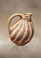 Minoan Kamares Ware ewer jug with  polychrome decorations, Phaistos Palace 1800-1600 BC; Heraklion Archaeological  Museum.<br /> <br /> This style of pottery is named afetr Kamares cave where this style of pottery was first found