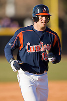 Steven Proscia #19 of the Virginia Cavaliers rounds the bases after hitting a 2-run home run against the East Carolina Pirates at Clark-LeClair Stadium on February 19, 2010 in Greenville, North Carolina.   Photo by Brian Westerholt / Four Seam Images