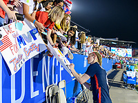 FRISCO, TX - MARCH 11: Becky Sauerbrunn #4 of the United States signs her autograph for fans during a game between Japan and USWNT at Toyota Stadium on March 11, 2020 in Frisco, Texas.