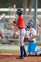 Cabera Weaver (22) while playing for Braves Scout Team/East Cobb based out of Marietta, Georgia during the WWBA World Championship at the Roger Dean Complex on October 19, 2017 in Jupiter, Florida.  Cabera Weaver is an outfielder from Decatur, Georgia who attends South Gwinnett High School.  (Mike Janes/Four Seam Images)