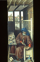 Paintings:  Robert Campin--Merode Altarpiece--St. Joseph.  Right wing panel, c. 1425.  Met. Museum of Art, Cloisters. Flemish Master.   Reference only.