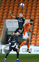 Blackpool's Grant Ward battles with Leeds United's Oliver Casey<br /> <br /> Photographer Dave Howarth/CameraSport<br /> <br /> EFL Trophy - Northern Section - Group G - Blackpool v Leeds United U21 - Wednesday 11th November 2020 - Bloomfield Road - Blackpool<br />  <br /> World Copyright © 2020 CameraSport. All rights reserved. 43 Linden Ave. Countesthorpe. Leicester. England. LE8 5PG - Tel: +44 (0) 116 277 4147 - admin@camerasport.com - www.camerasport.com
