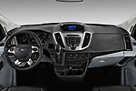 Stock photo of straight dashboard view of a 2019 Ford Transit Wagon 350 XLT Wagon High Roof Pass Slide 148WB 5 Door Passenger Van