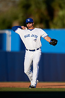 Dunedin Blue Jays third baseman Matt Dean (8) throws to first base during a game against the Clearwater Threshers on April 8, 2017 at Florida Auto Exchange Stadium in Dunedin, Florida.  Dunedin defeated Clearwater 12-6.  (Mike Janes/Four Seam Images)