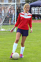 London, UK on Sunday 31st August, 2014. Rachel Riley in action during the Soccer Six charity celebrity football tournament at Mile End Stadium, London.