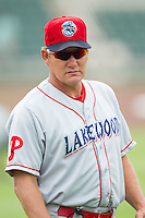 Lakewood BlueClaws pitching coach Les Lancaster (24) prior to the game against the Kannapolis Intimidators at CMC-NorthEast Stadium on July 20, 2014 in Kannapolis, North Carolina.  The Intimidators defeated the BlueClaws 7-6. (Brian Westerholt/Four Seam Images)