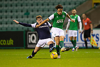 15th November 2020; Easter Road, Edinburgh, Scotland; Scottish League Cup Football, Hibernian versus Dundee FC; Joe Newell of Hibernianholds off the challenge from Finlay Robertson of Dundee