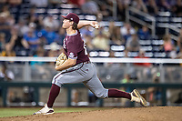 Mississippi State Bulldogs pitcher Cole Gordon (24) delivers a pitch to the plate during Game 10 of the NCAA College World Series against the Louisville Cardinals on June 20, 2019 at TD Ameritrade Park in Omaha, Nebraska. Louisville defeated Mississippi State 4-3. (Andrew Woolley/Four Seam Images)