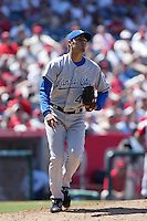 Joakim Soria of the Kansas City Royals during a game against the Los Angeles Angels in a 2007 MLB season game at Angel Stadium in Anaheim, California. (Larry Goren/Four Seam Images)