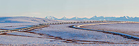 Panorama of the pipeline and tundra with the Philip Smith Mountains of the Brooks Range in the distance, James Dalton Highway, Arctic, Alaska.