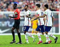 NASHVILLE, TN - SEPTEMBER 5: Kellyn Acosta #23 of the United States argues with a referee during a game between Canada and USMNT at Nissan Stadium on September 5, 2021 in Nashville, Tennessee.