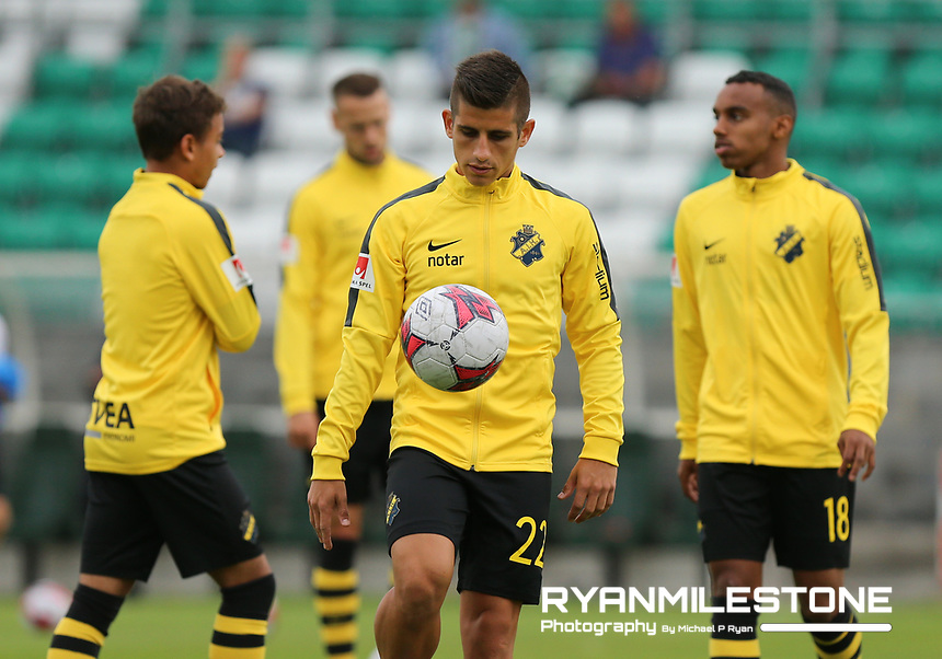Nicolás Stefanelli of AIK during the warm up ahead of the UEFA Europa League First Qualifying Round First Leg between Shamrock Rovers and AIK on Thursday 12th July 2018 at Tallaght Stadium, Dublin. Photo By Michael P Ryan