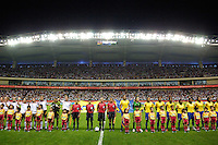 Germany (white) and Brazil lineup for their national anthems before the start of the game. Germany (GER) defeated Brazil (BRA) 2-0 in the finals of the 2007 FIFA Women's World Cup. at Shanghai Hongkou Football Stadium in Shanghai, China on September 30, 2007.