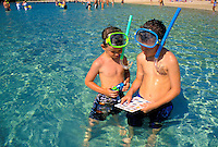 Two young boys ( ages 8 & 9 ) have fun reviewing their reef fishes guide in search of colorful sea creatures at Hanauma Bay on Oahu.