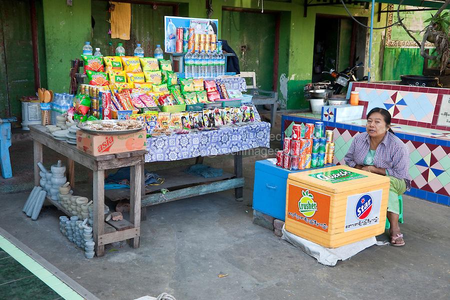 Myanmar, Burma.  Refreshment Stand adjacent to Buddhist Temple, Sagaing Hill, near Mandalay.