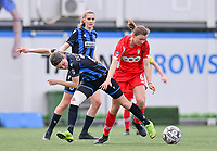 Debbie Decoene (21) of Club Brugge pictured fighting for the ball with Yuna Appermont (6) of Standard  during a female soccer game between Club Brugge Dames YLA and Standard Femine de Liege on the seventh matchday in Play-Off 1 of the 2020 - 2021 season of Belgian Scooore Womens Super League , saturday 15 May 2021  in Brugge , Belgium . PHOTO SPORTPIX.BE | SPP | DAVID CATRY