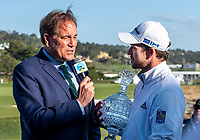 9th February 2020, Pebble Beach, Carmel, California, USA; Nick Taylor answers questions after receiving the trophy for the win of the championship round of the AT&T Pro-Am on Sunday