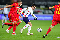 SWANSEA, WALES - NOVEMBER 12: Giovanni Reyna #7 of the United States turns with the ball during a game between Wales and USMNT at Liberty Stadium on November 12, 2020 in Swansea, Wales.