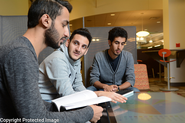 Saudi students on St. Norbert College campus on January 31, 2015.