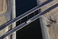 aerial photograph of interstate I-5 crossing the California Aqueduct, Central Valley, California
