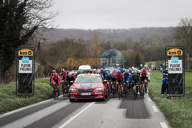 The start of Stage 1 of the 78th edition of Paris-Nice 2020, running 154km from Plaisir to Plaisir, France. 8th March 2020.<br /> Picture: ASO/Fabien Boukla | Cyclefile<br /> All photos usage must carry mandatory copyright credit (© Cyclefile | ASO/Fabien Boukla)