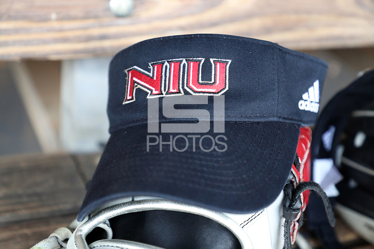 GREENSBORO, NC - MARCH 11: Northern Illinois University softball hat during a game between Northern Illinois and UNC Greensboro at UNCG Softball Stadium on March 11, 2020 in Greensboro, North Carolina.