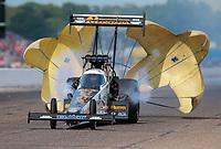Aug 18, 2019; Brainerd, MN, USA; NHRA top fuel driver Austin Prock during the Lucas Oil Nationals at Brainerd International Raceway. Mandatory Credit: Mark J. Rebilas-USA TODAY Sports