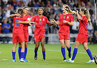 Saint Paul, MN - SEPTEMBER 03: Carli Loyd #10 of the United States celebrates her goal during their 2019 Victory Tour match versus Portugal at Allianz Field, on September 03, 2019 in Saint Paul, Minnesota.