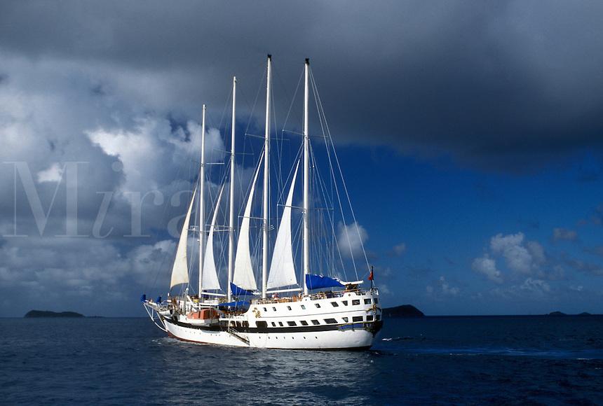 British Virgin Islands, Caribbean, BVI, Sailing vessel on the Caribbean Sea.